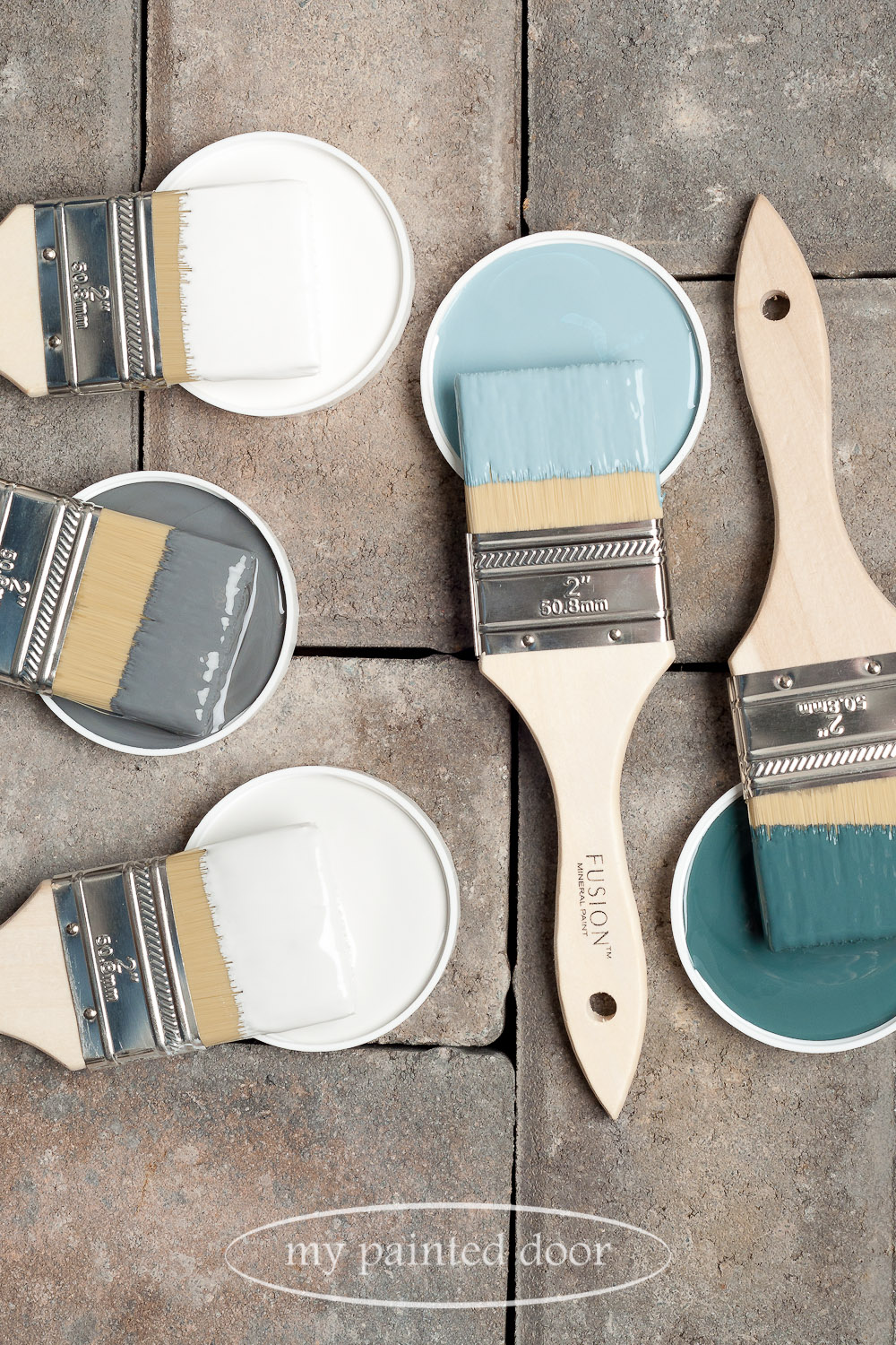 Fusion Mineral Paint Homestead Blue, Champness, Picket Fence, Soapstone and Lamp White