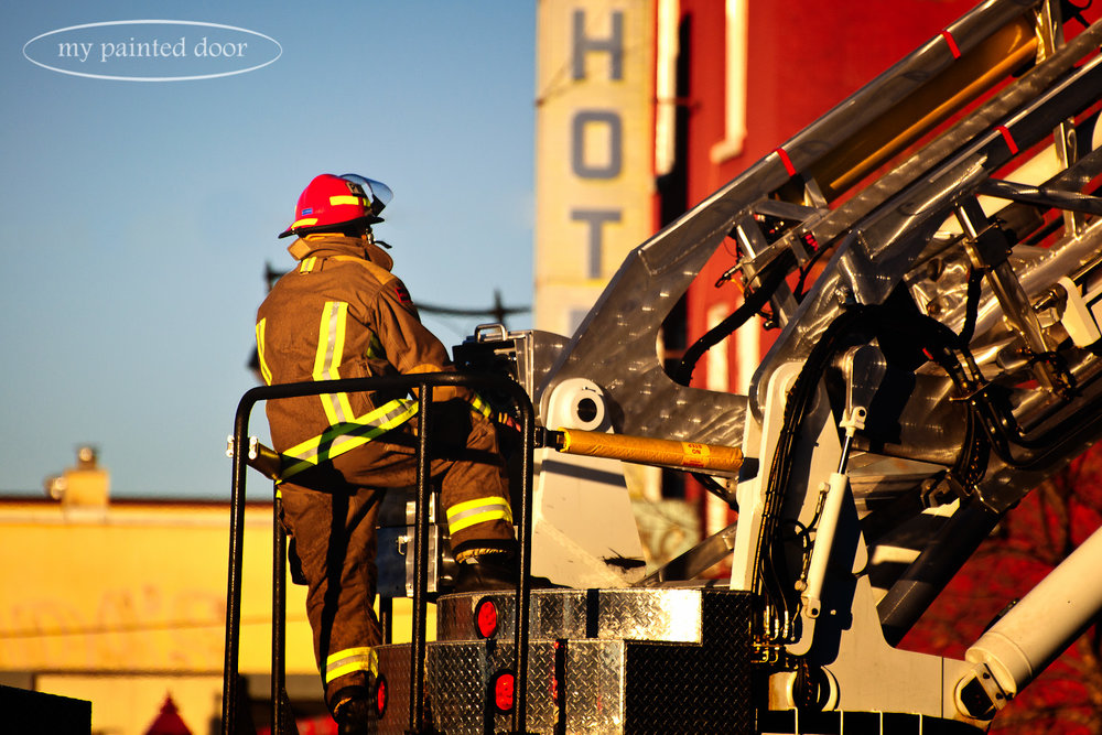 Thunder Bay firefighter at the West Hotel fire.