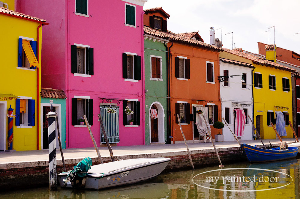 Colourful homes in Burano, Italy.