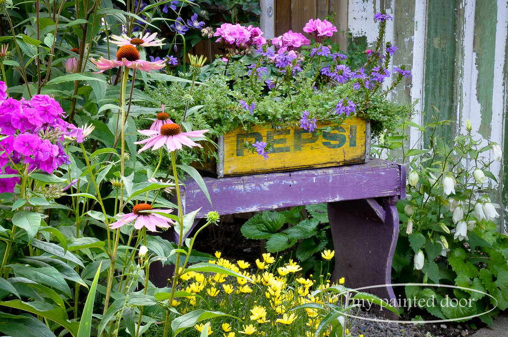 Country Gardener Sue Sikorski loves to decorate her garden with vintage treasures.