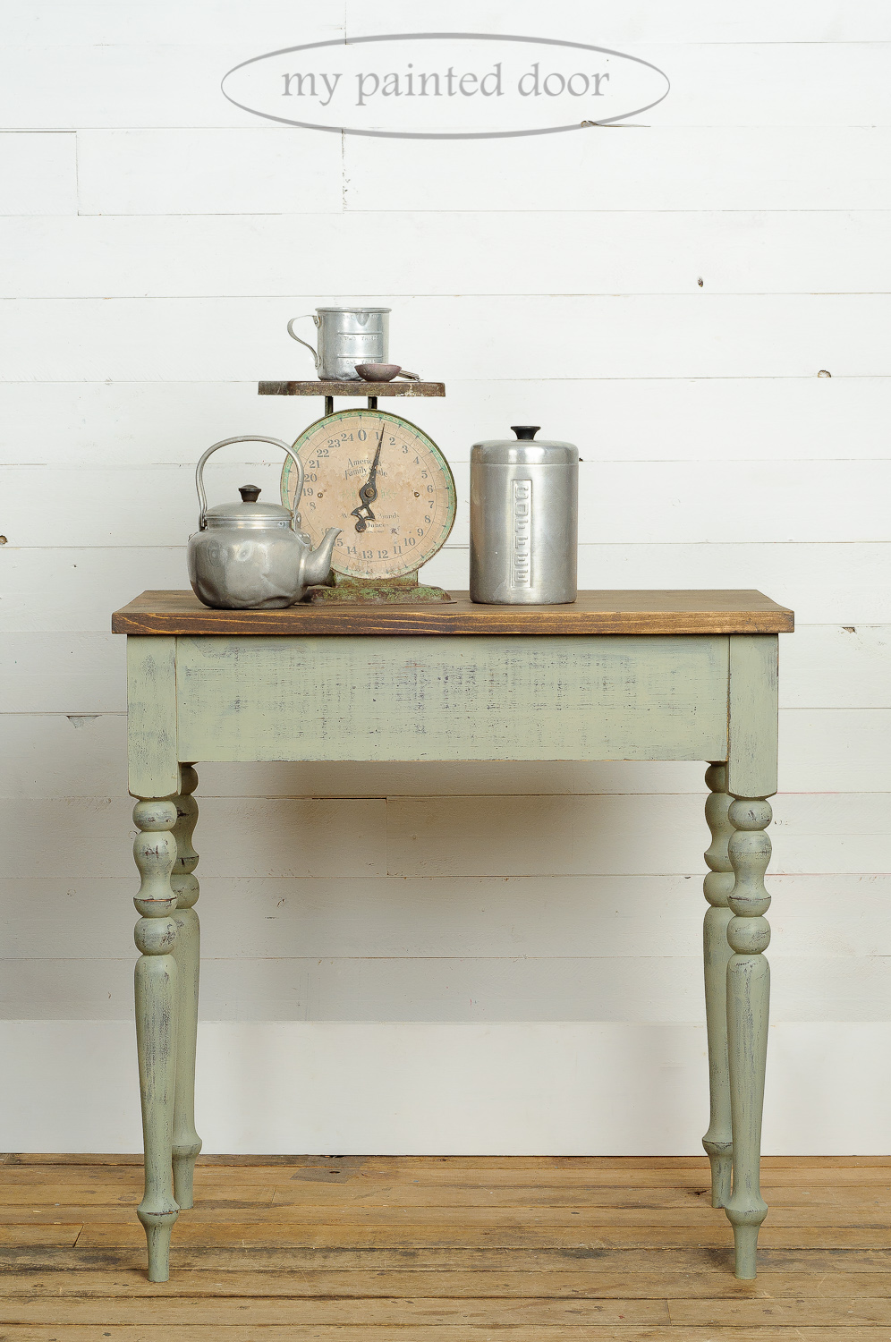 Distressed Table Painted with Milk Paint
