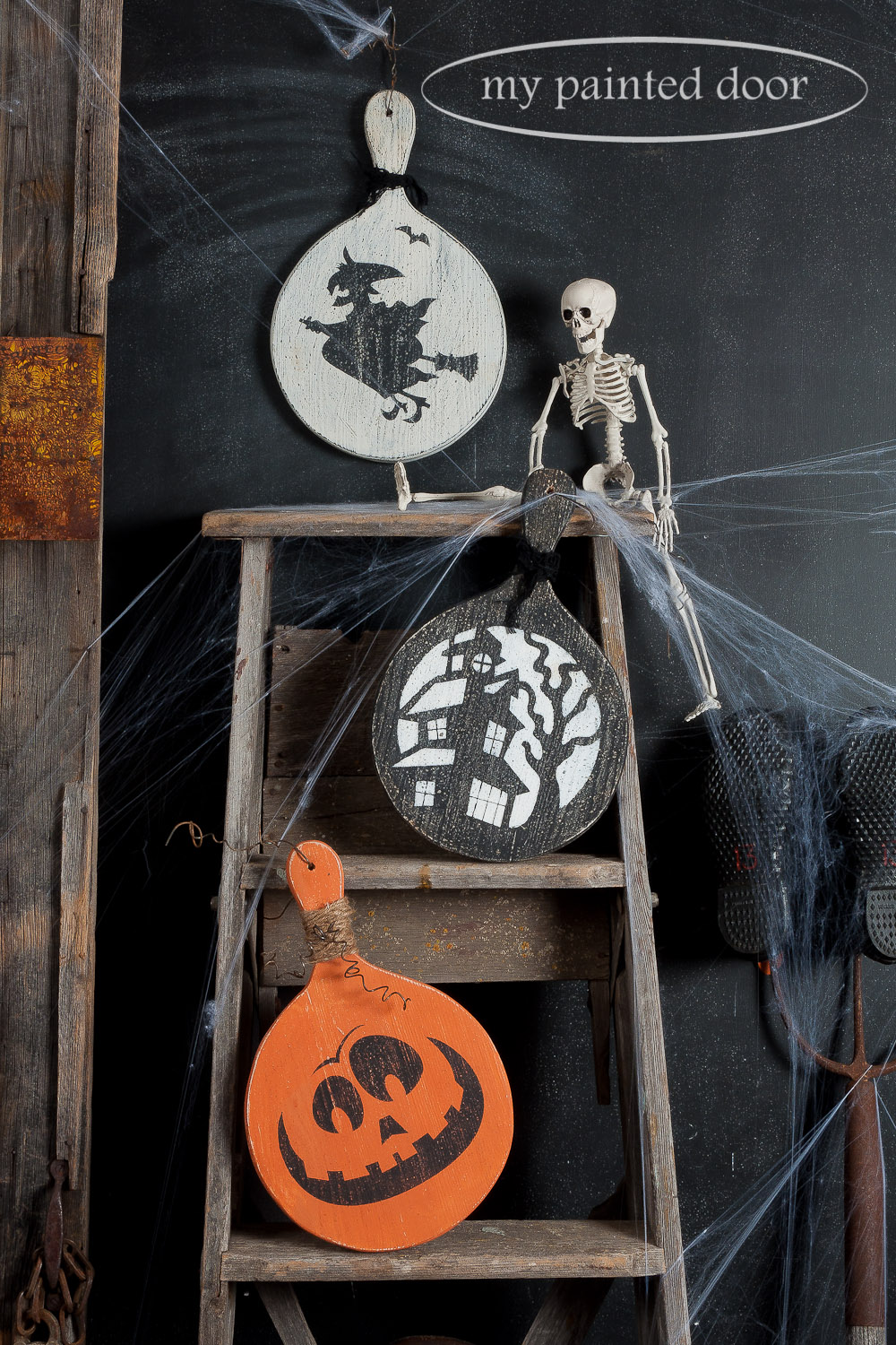 Halloween Signs Painted with Milk Paint