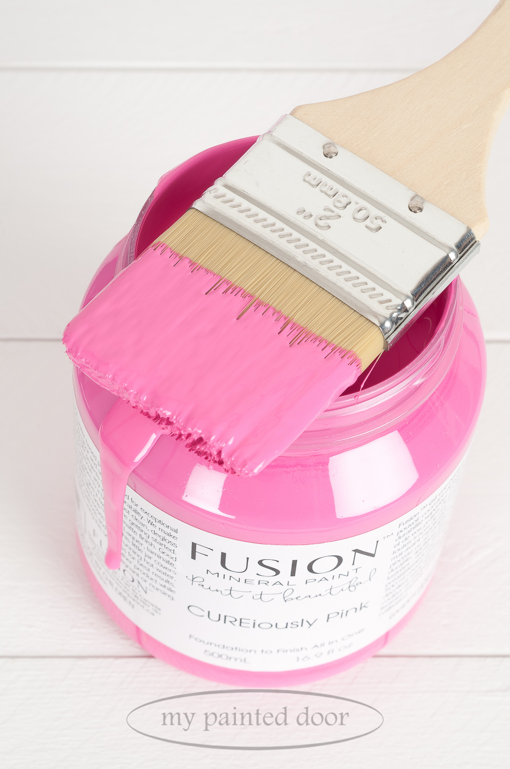 Fusion Mineral Paint CUREiously Pink. Available online at My Painted Door.