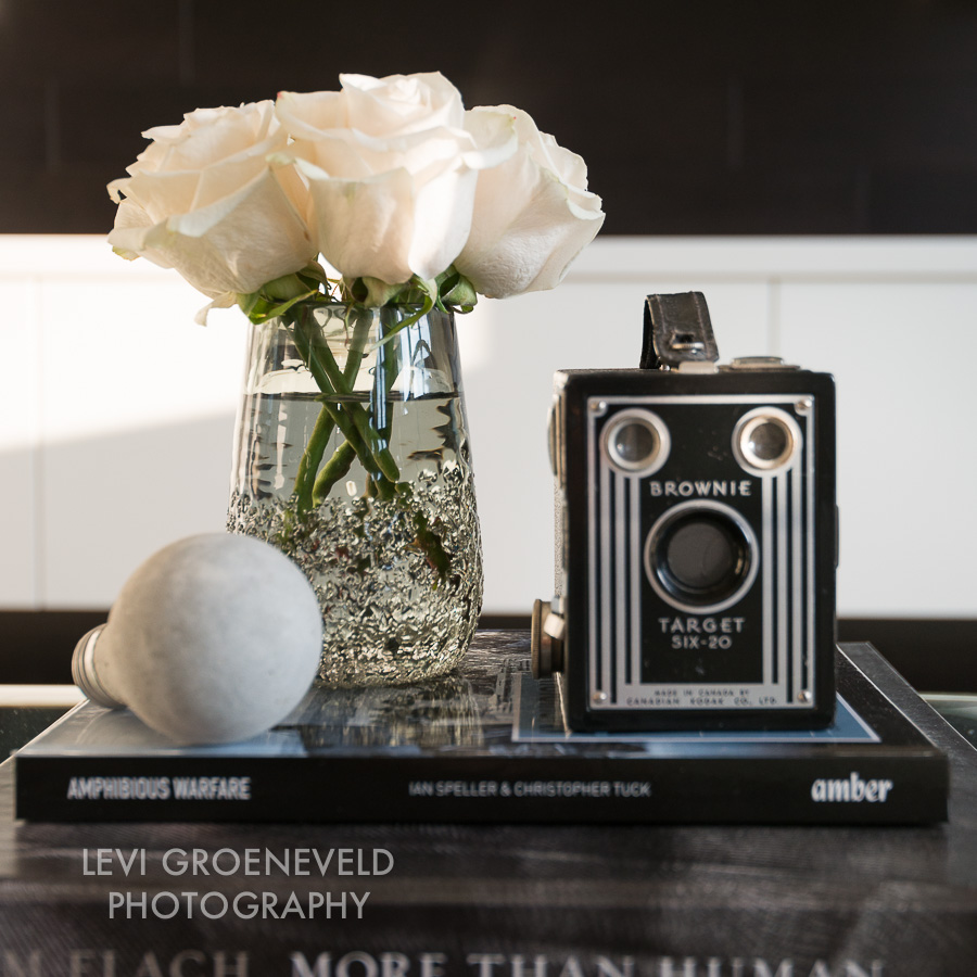 Coffee table styling in the family room featuring a vintage camera and handmade concrete lightbulb.