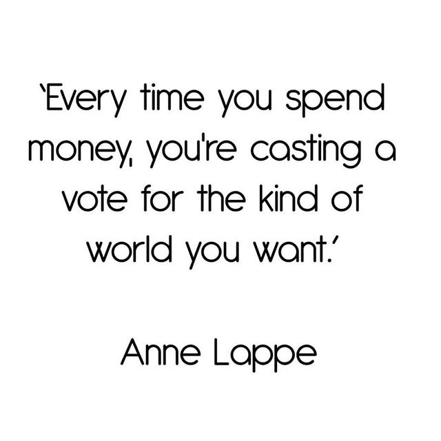 Well said Anne Lappe. By purchasing products from brands that utilise ethical production methods your helping support the future revolution of clothing manufacturing. #cleancutfashion #annelappe #sustainablefashion