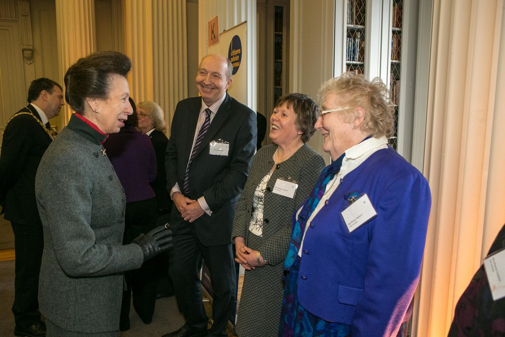HRH, The Princess Royal, Patron of The Scottish Association of Citizens Advice Bureau meeting volunteers at Citizens Advice Edinburgh's 75th Anniversary Reception on 15th January 2015