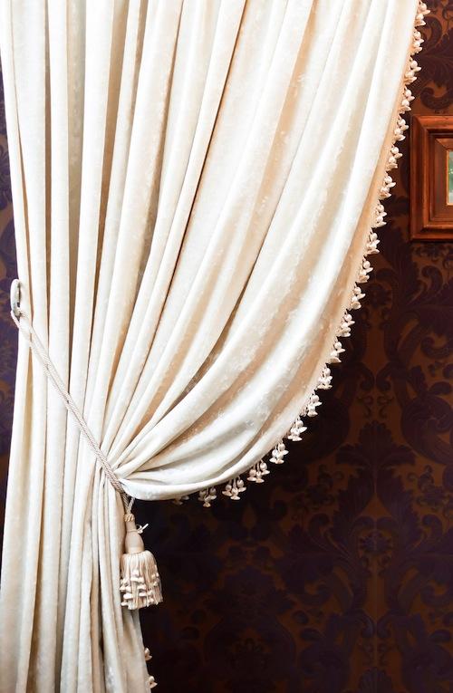 White Curtains With Black Tassel Trim Curtain