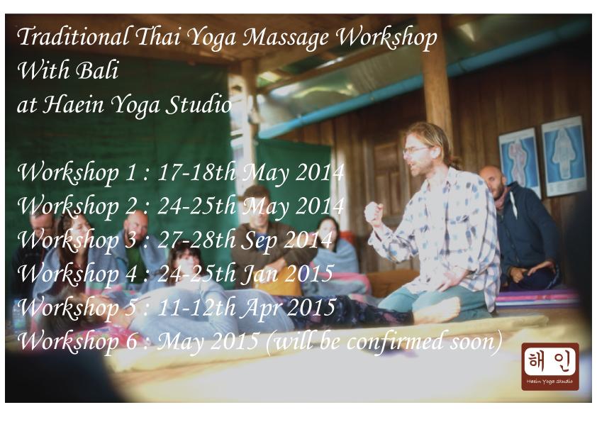 Thai Yoga massagw workshop with bali 24th-25thJanuary 9h-18h