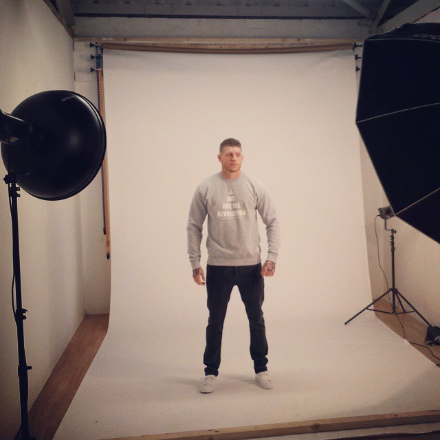 Behind the scenes image, showing the lighting and clothing by Illustrate Clothing.