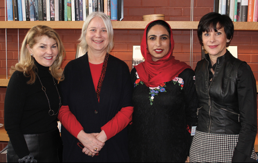 "Left to right:  Anne H. Fitzpatrick; Pieranna Cavalchini, Tom and Lisa Blumenthal Curator of Contemporary Art; Ambreen Butt, Artist (""I Need a Hero,"" 2017); and Peggy Fogelman, Norma Jean Calderwood Director at the Isabella Stewart Gardner Museum"