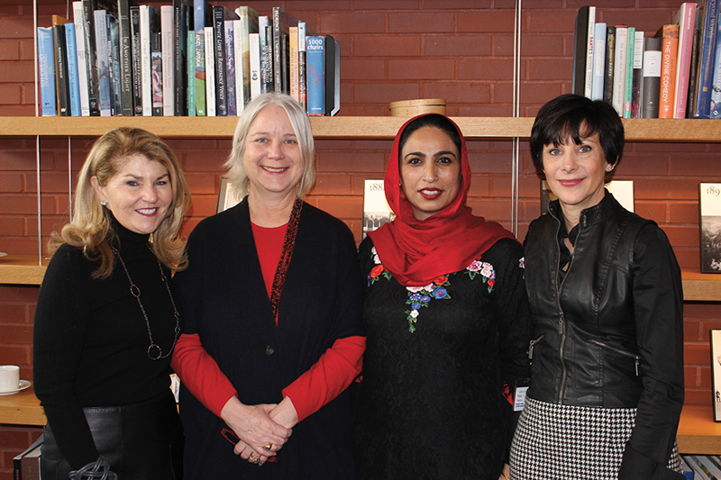 "Anne H. Fitzpatrick; Pieranna Cavalchini, Tom and Lisa Blumenthal Curator of Contemporary Art; Ambreen Butt, Artist (""I Need a Hero,"" 2017); and Peggy Fogelman, Norma Jean Calderwood Director at the Isabella Stewart Gardner Museum"