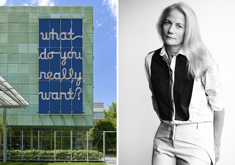 From left: 'What Do You Really Want?' installation rendering; artist Rachel Perry Welty / Courtesy of Isabella Stewart Gardner Museum