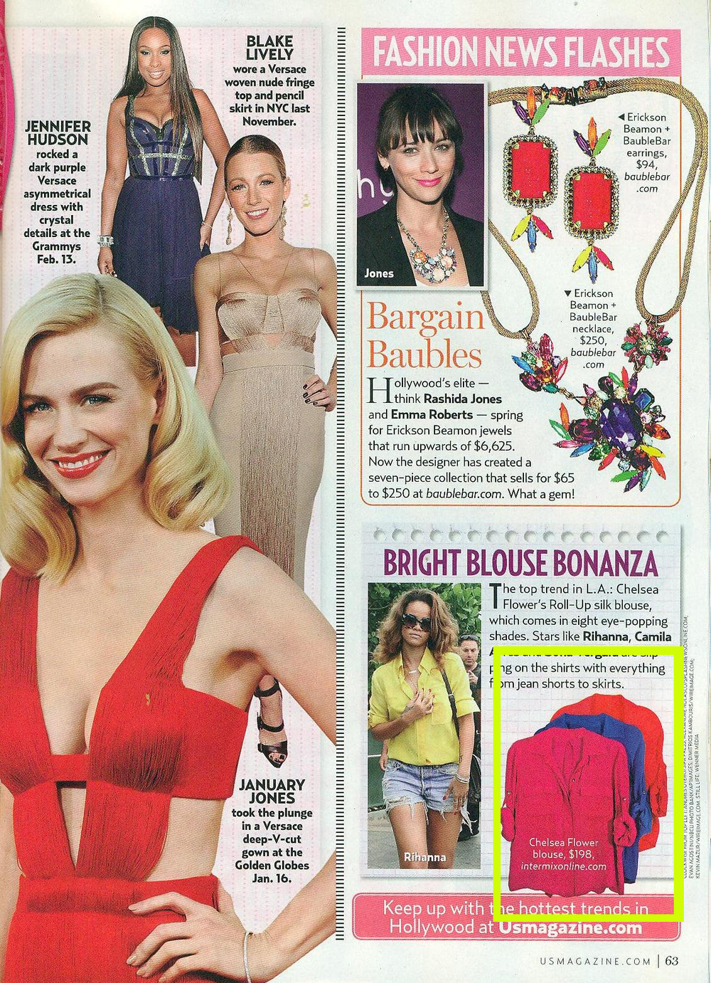 Chelsea Flower top featured in US Weekly June 2011