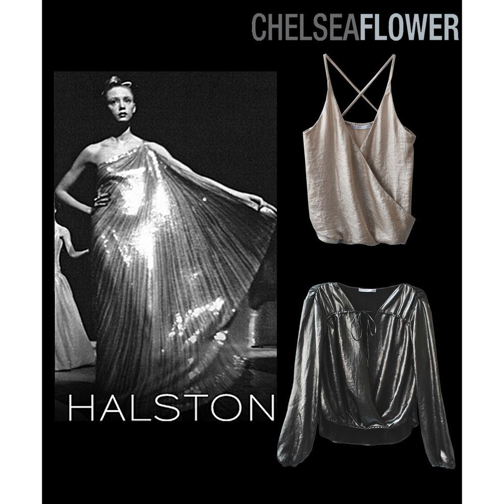 Chelsea Flower clothing tops like Halston 1970s disco