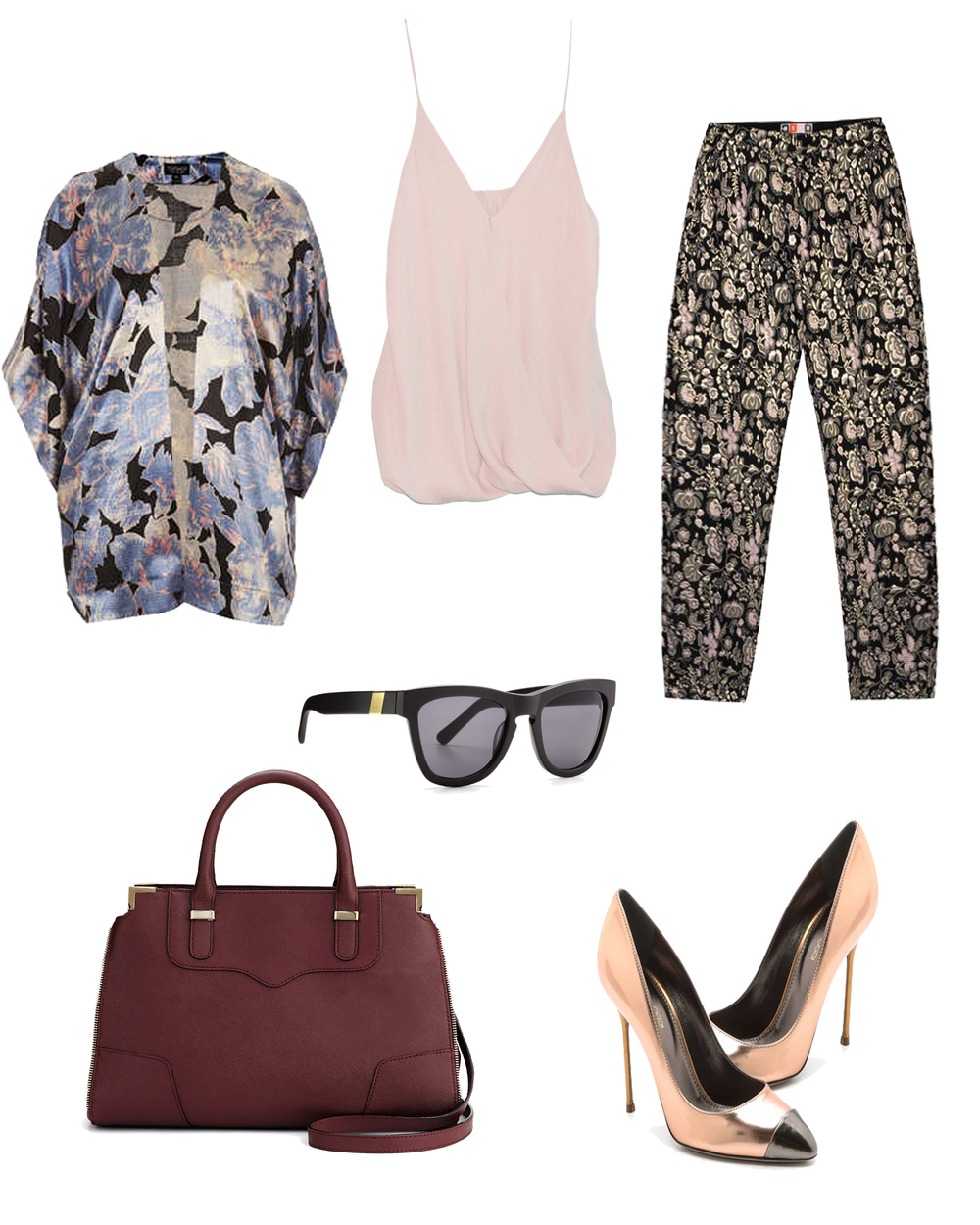 Sergio Rossi pumps  Chelsea Flower tank  Top Shop kimono Rebecca Minkoff Bag Sunglasses from Otte NYC