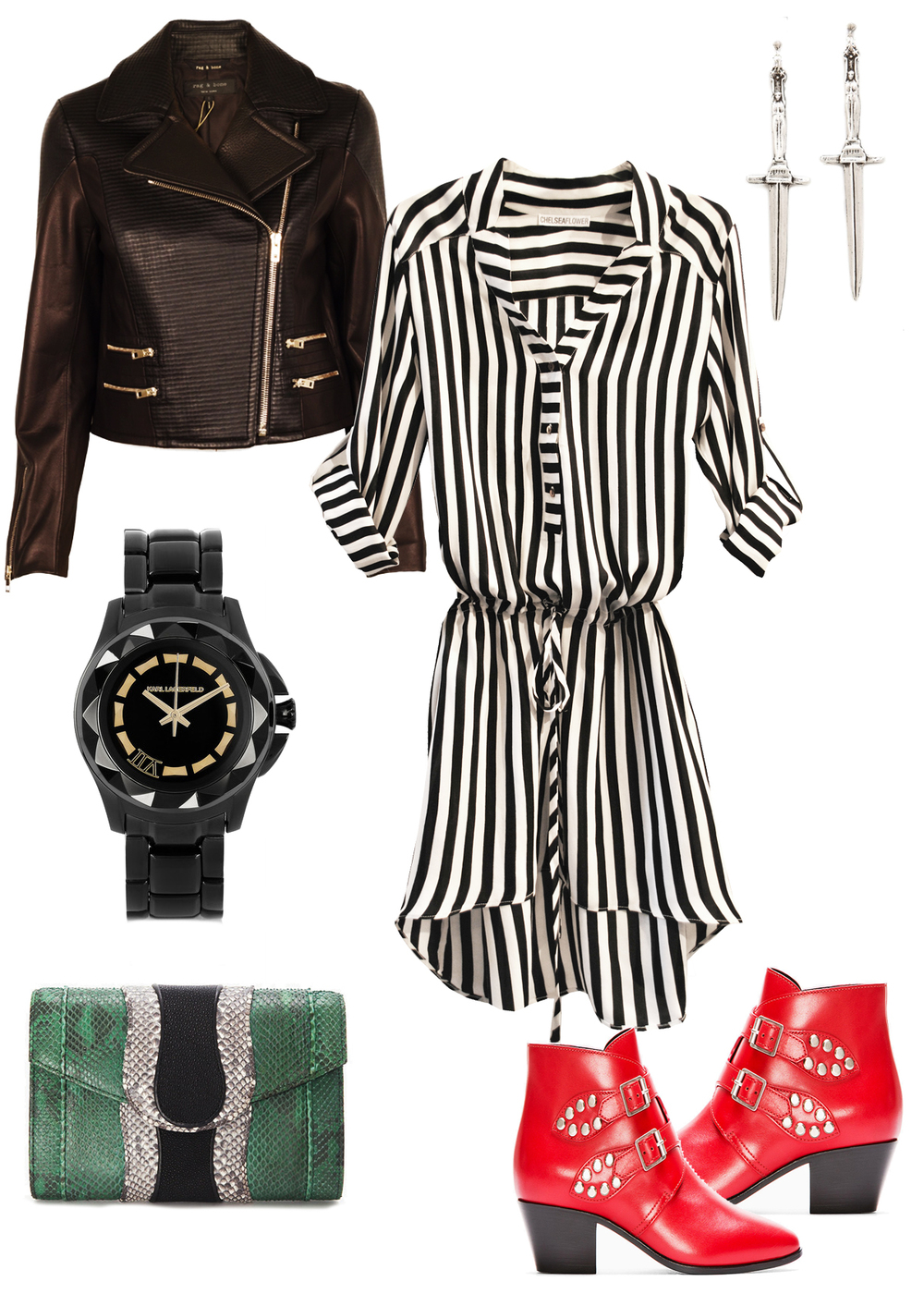 Chelsea Flower stripe drawstring shirt dress with Rag & Bone Pamela Love Karl Lagerfield Saint Laurent Intermix shopbop