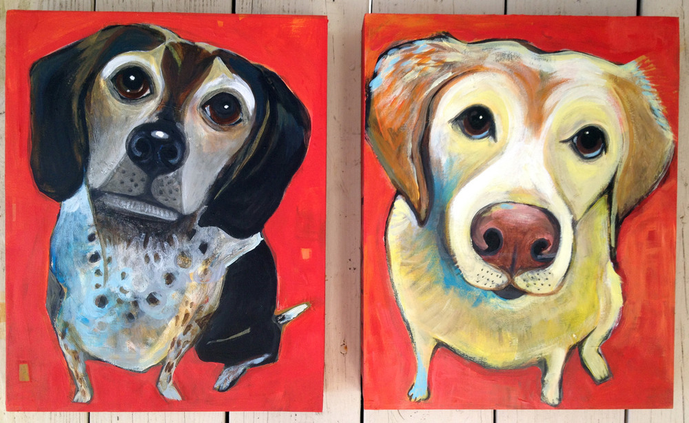 martini and latte  commission portraits for danielle and brian acrylic on wood