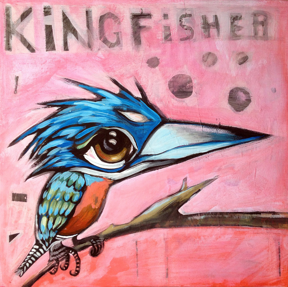 "elvis the kingfisher  24x24"" acrylic on canvas sold"