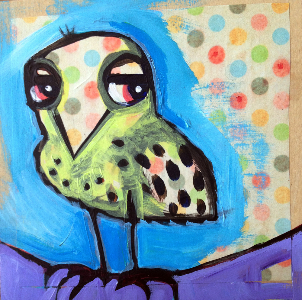 "spotted bird with an attitude       mixed media on wood panel  8x8""   sold"