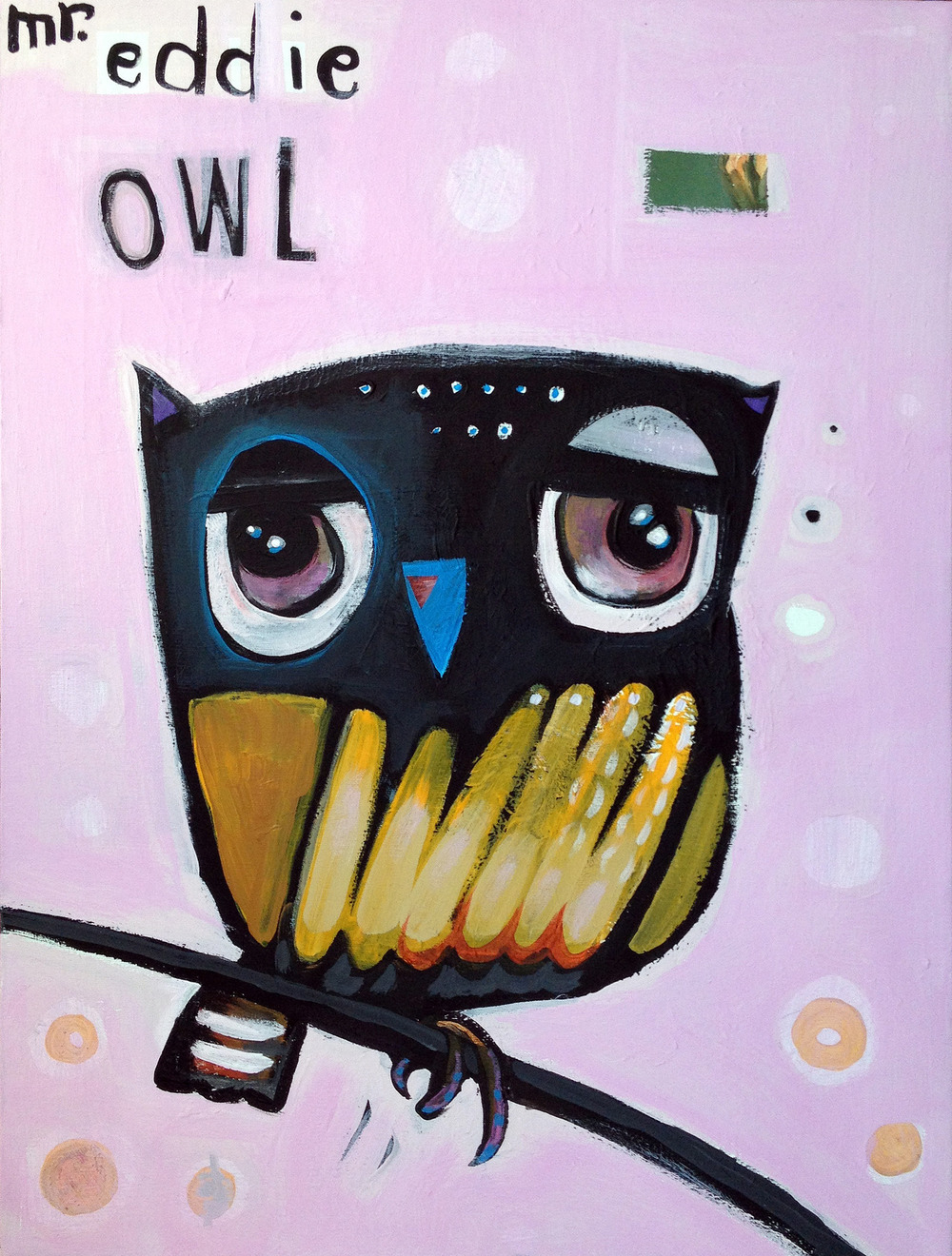 "mr. eddie owl   acrylic on recycled canvas  14x18""  $15  Currently showing at  The Green Door"
