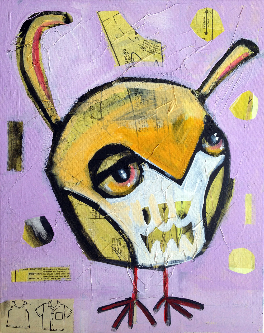 """little peep 16"""" X 20"""" acrylic and collage on canvas $180. available at the hive, phoenix."""