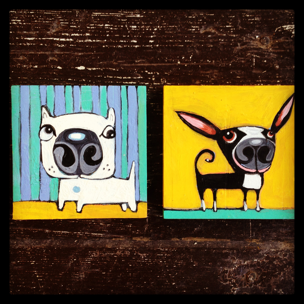 "blanca & cha cha - SOLD! 5"" square wood panels acrylic"