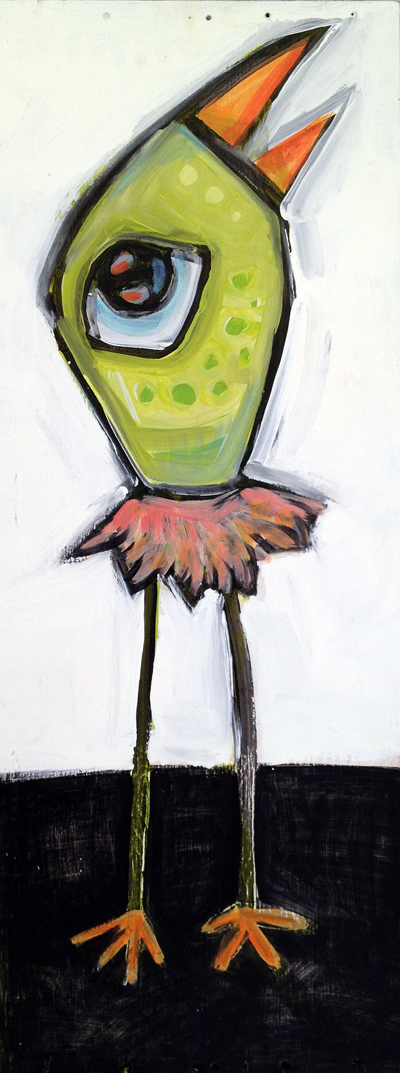 "green bird in pink tutu  12"" x 30""   acrylic on wood panel  $195.  contact jenny@iggyart.com"