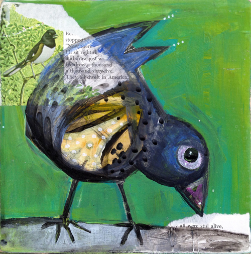 "little blackbird - SOLD!  10"" x 10""  $90  available, contact jenny@iggyart.com"