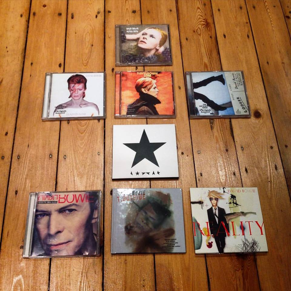 My husband's 'desert island' Bowie collection.