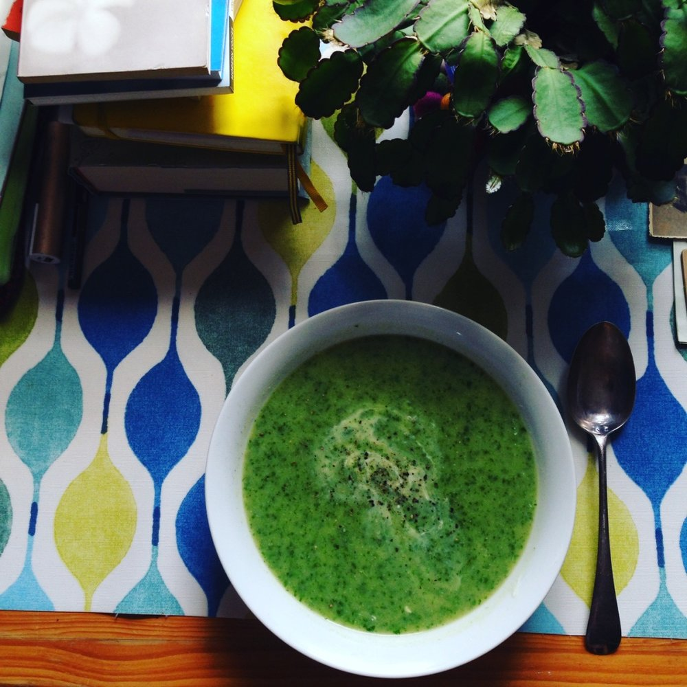 Watercress soup - probably *the* best thing you can eat when trying to recalibrate, it completely detoxifies the body! And it's so yummy. I made Sarah Wilson's recipe in I Quit Sugar For Life.