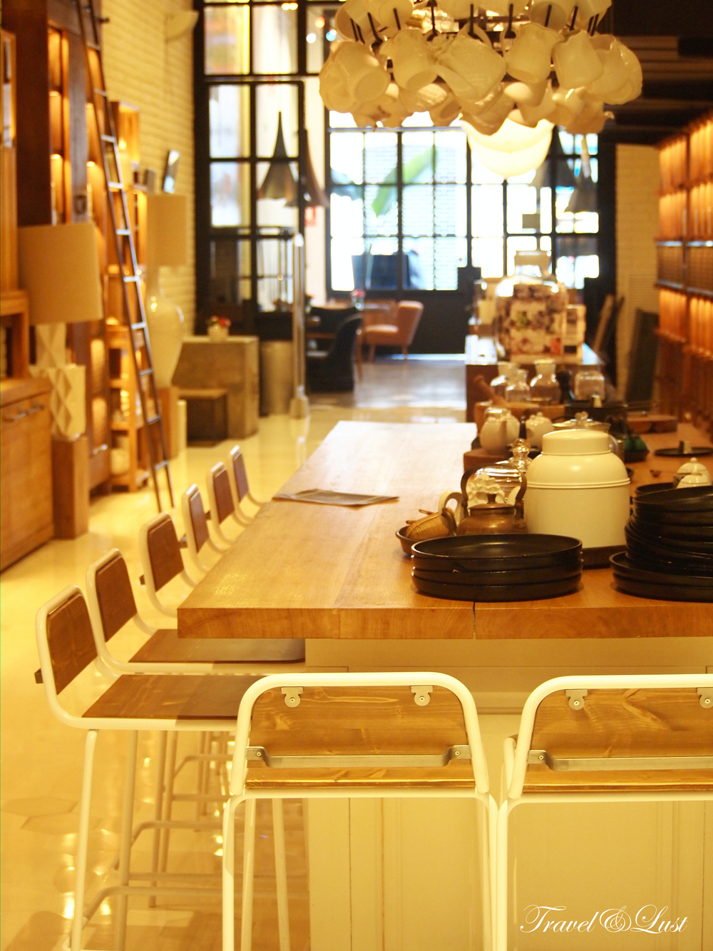 We love the wooden decorin the tea shop.