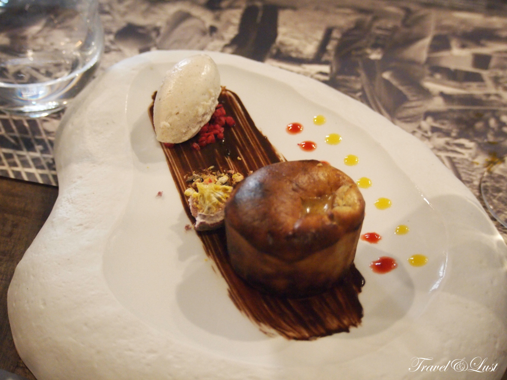 Hazelnut coulant with vanilla ice cream.