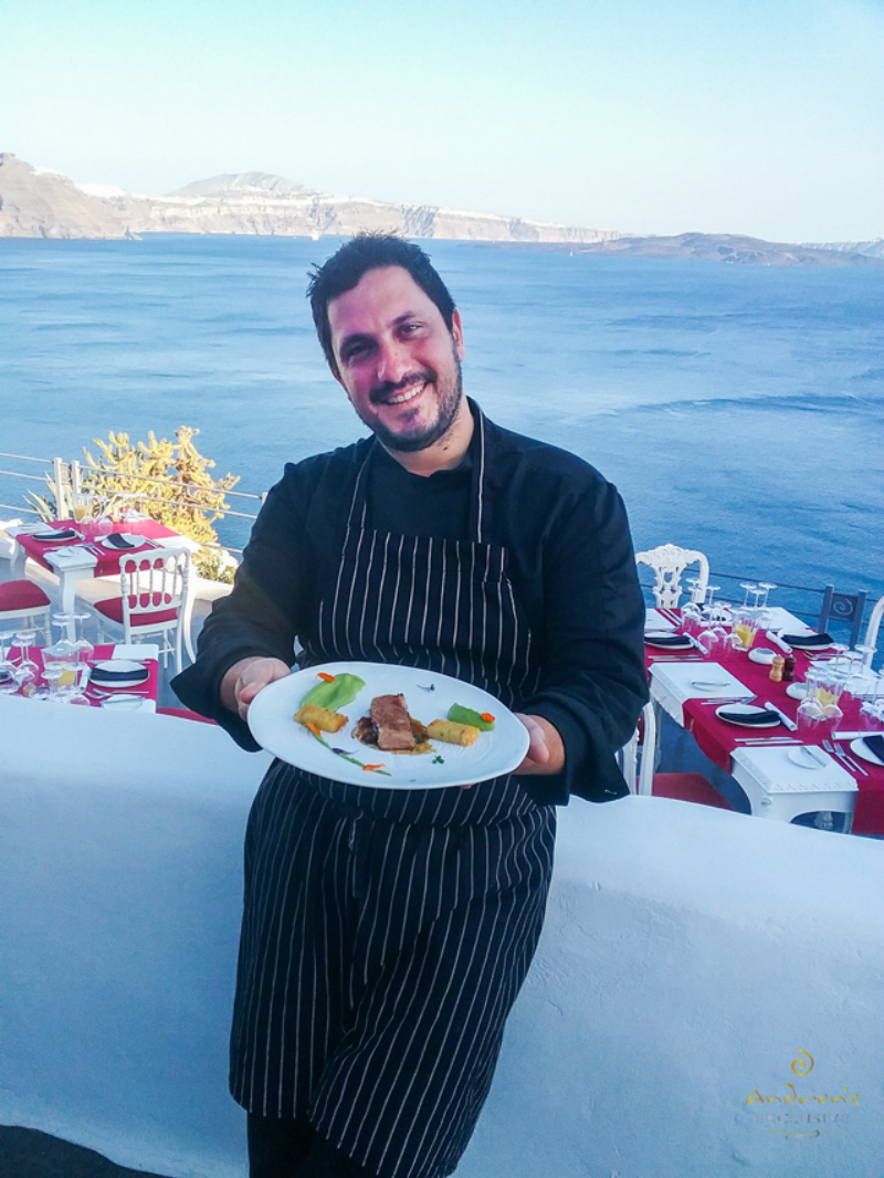The Greek chef Panagiotis Giakalis, posing with his creation: Lamb with pea puree, potato terrine, tomato confit in an olive and basil sauce, as served at Lauda Restaurant.