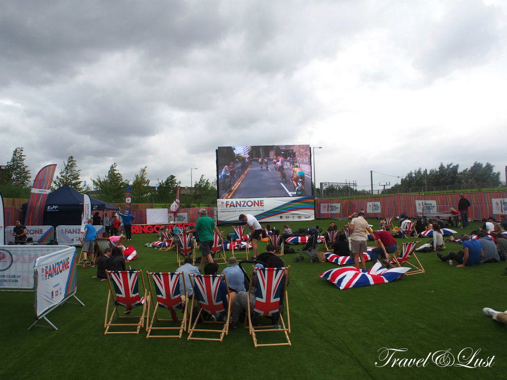 Watching the Rio 2016 Olympics Games on the big screen in the East London's former 2012 Olympic grounds.