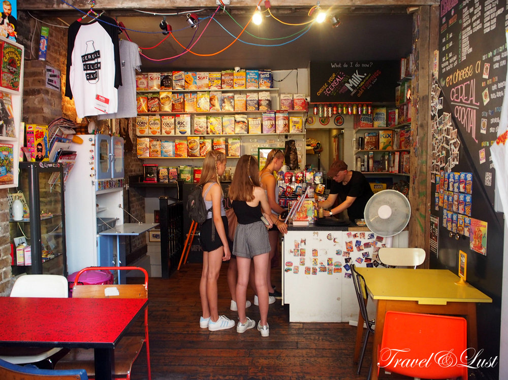 The Cereal Killer Cafe on Brick Lane.Identical twins Alan and Gary Keery from Belfast opened the very first cereal based restaurant in the UK.