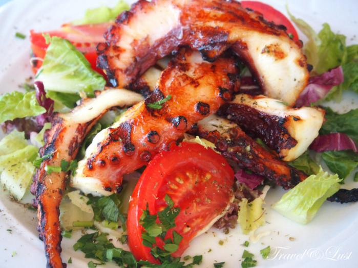 Grilled octopus in Piatos restaurant.