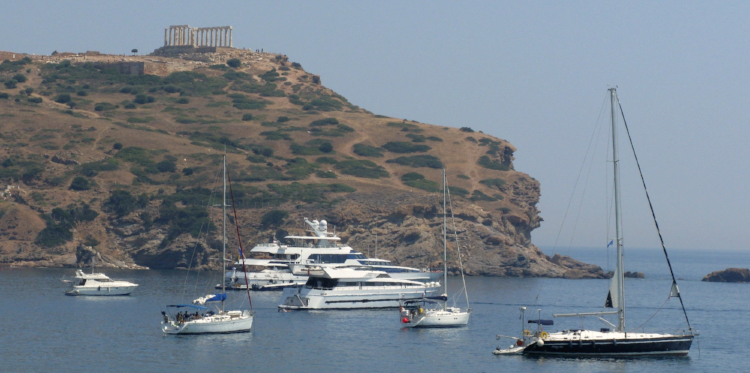 Temple of Poseidon at Cape Sounion, built circa 440 BC and surrounding paradise.