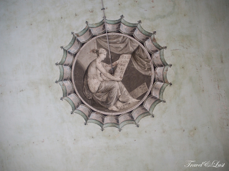 One of the dozens of frescoes in a room's ceiling.