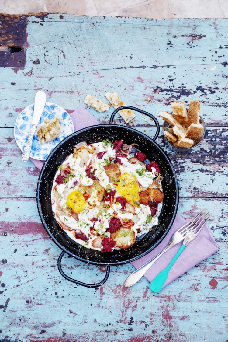 Merguez and eggs with goat curd, cumin and coriander. Photo © Camilla Lindqvist