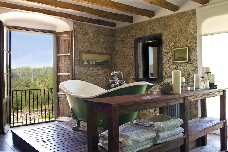 Freestanding bathtub at Casa Felix in Garraf, Catalonia. Perfect for any romantic escape.