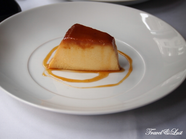 Portuguese vanilla flan with a slight taste of caramel.