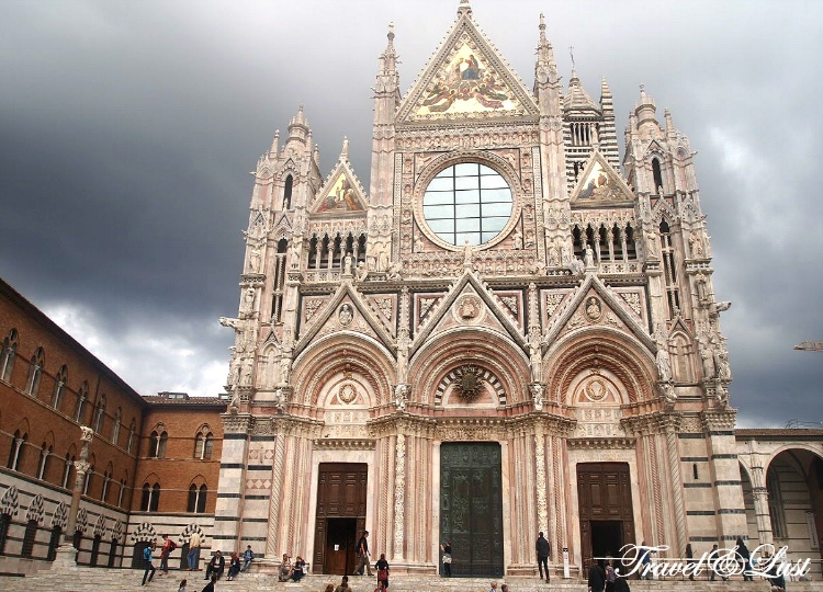 The magnificent Duomo is adorned with gilded stars and statues - Siena Cathedral in Tuscany is home to some unique works of art by the likes of Donatello and a young Michaelangelo.