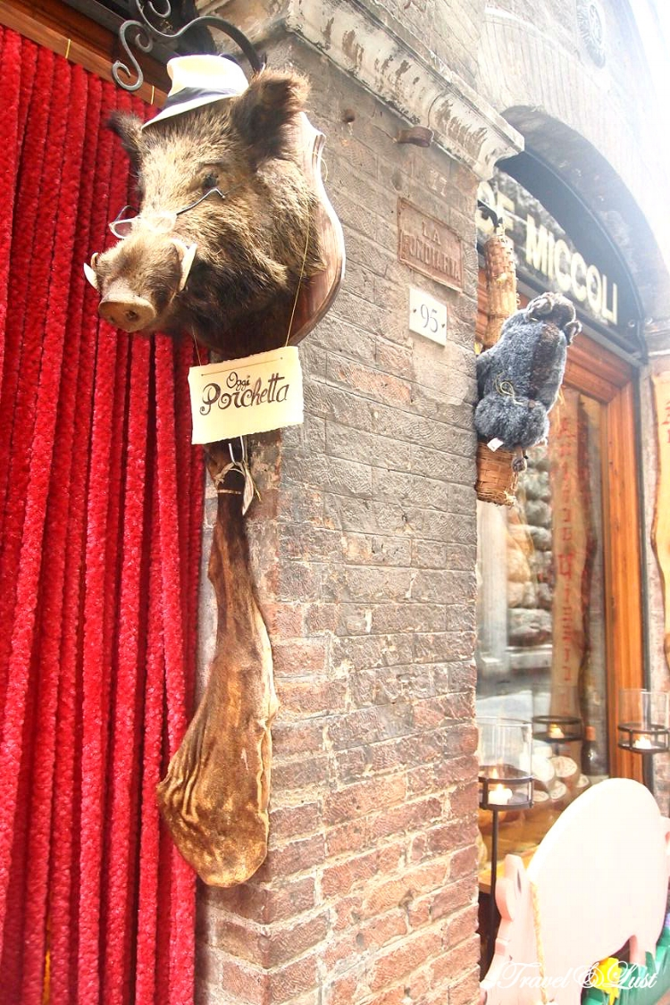 The head of a boar outside a souvenir shop In Siena.