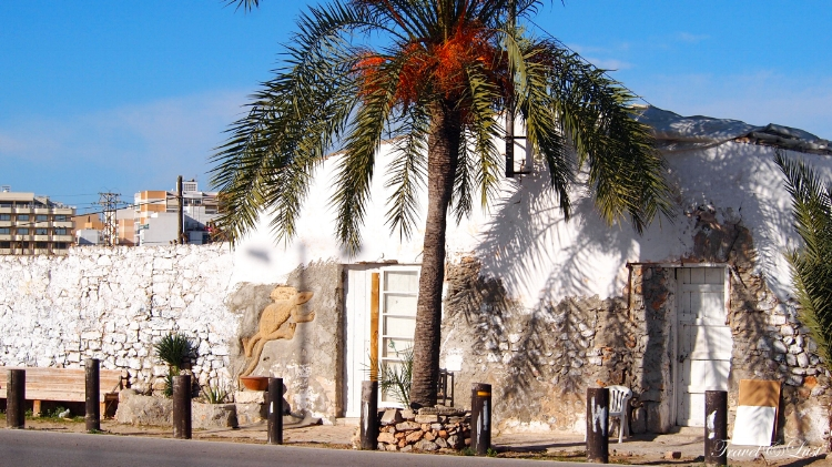 White washed house on the road to Ibiza town.