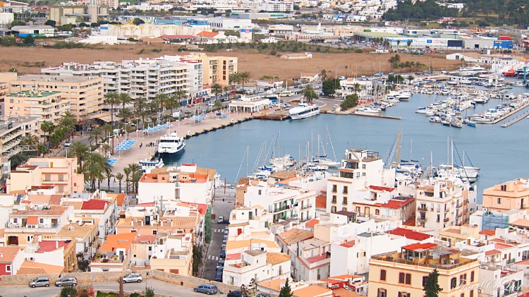 Views of Ibiza new town and it's port. Here you can get a boat to different parts of the island.