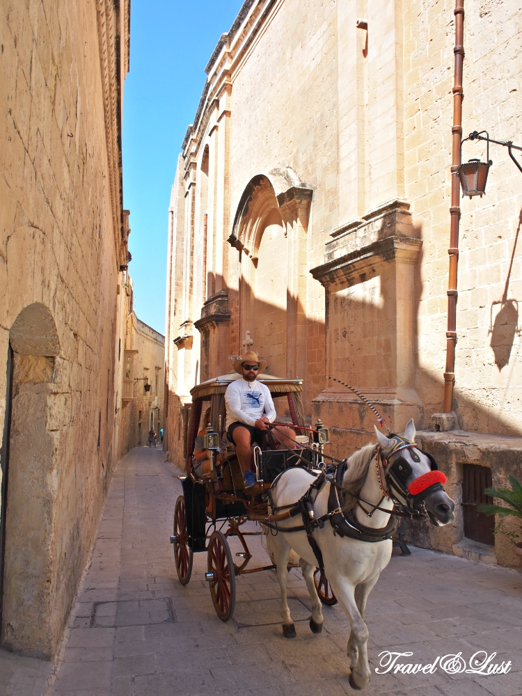 The traditional 'Karozzin', horse drawn carriage can be seen in the old city Mdina.