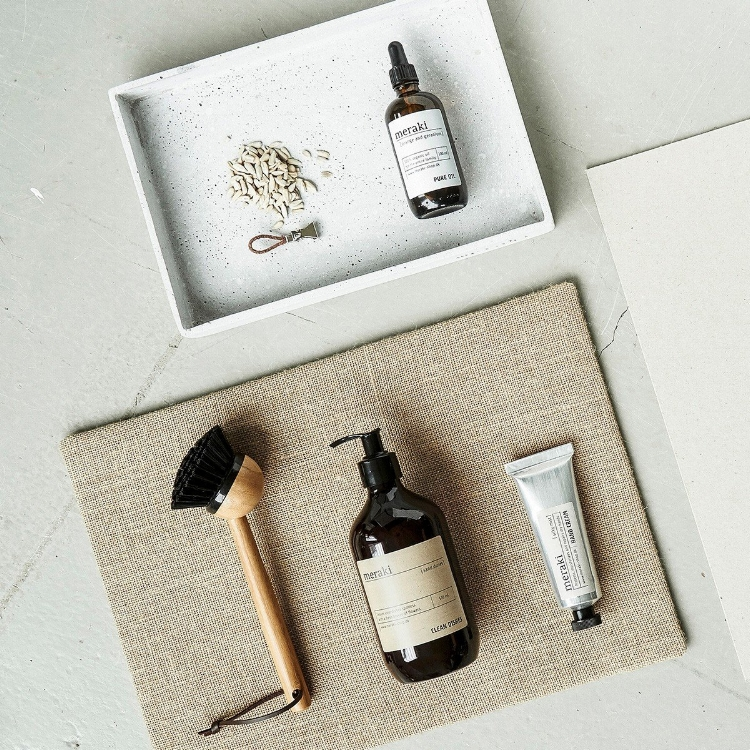 A selection of essential and natural skincare beauty products by Danish brand Meraki.