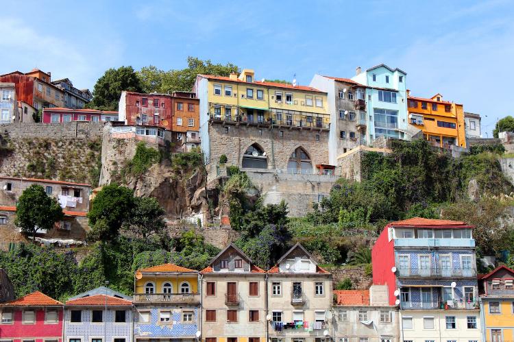 Colourful homes in Porto, Portugal