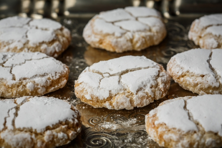 Ricciarelli ,  almond paste  cookies from Sienna, Italy. They are chewy, sweet and full of almond flavor.