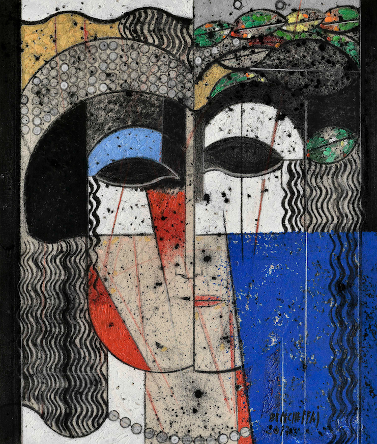 Saâd Ben Cheffaj, Nature morte, 2013, Oil on canvas, 100 x 100 cm. Courtesy L'atelier 21.